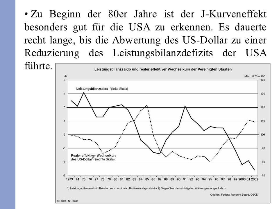 26 Zu Beginn der 80er Jahre ist der J-Kurveneffekt besonders gut für die USA zu erkennen. Es dauerte recht lange, bis die Abwertung des US-Dollar zu e