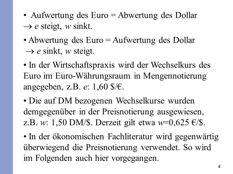 4 Aufwertung des Euro = Abwertung des Dollar e steigt, w sinkt. Abwertung des Euro = Aufwertung des Dollar e sinkt, w steigt. In der Wirtschaftspraxis