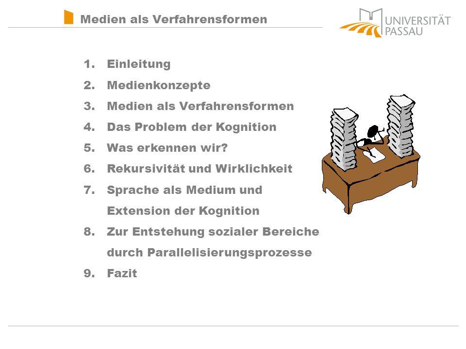 Medien als Verfahrensformen 1.Einleitung 2.Medienkonzepte 3.Medien als Verfahrensformen 4.Das Problem der Kognition 5.Was erkennen wir.