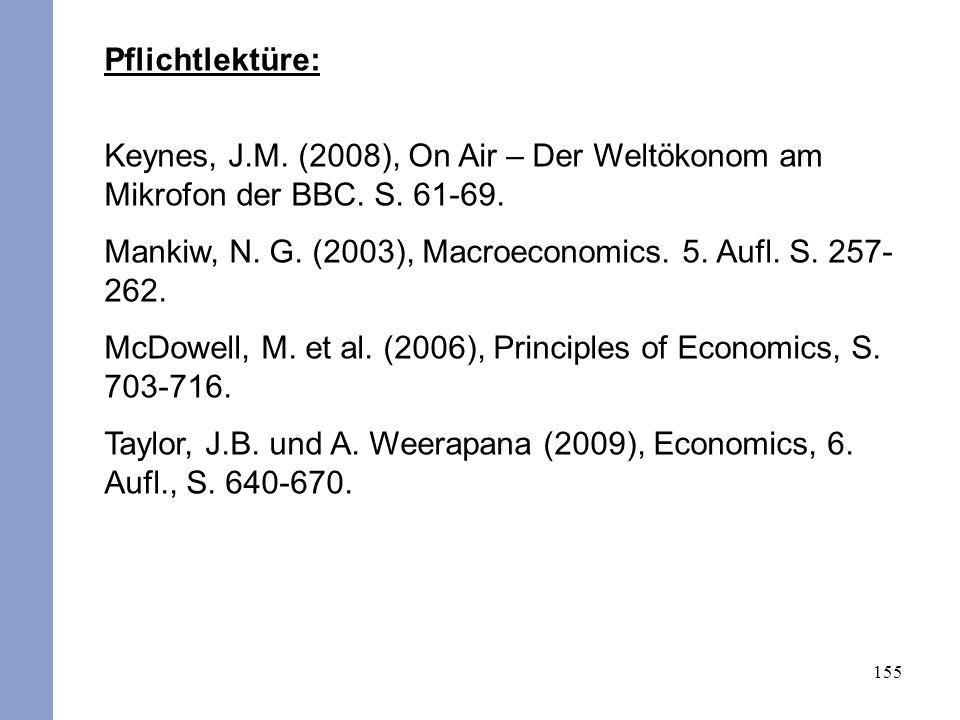 155 Pflichtlektüre: Keynes, J.M. (2008), On Air – Der Weltökonom am Mikrofon der BBC. S. 61-69. Mankiw, N. G. (2003), Macroeconomics. 5. Aufl. S. 257-