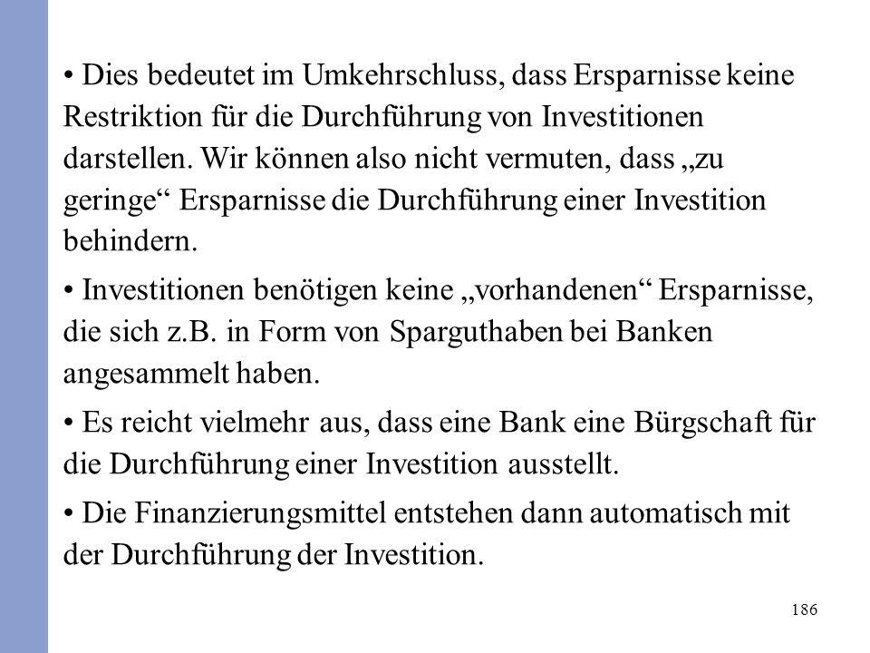 186 Dies bedeutet im Umkehrschluss, dass Ersparnisse keine Restriktion für die Durchführung von Investitionen darstellen. Wir können also nicht vermut