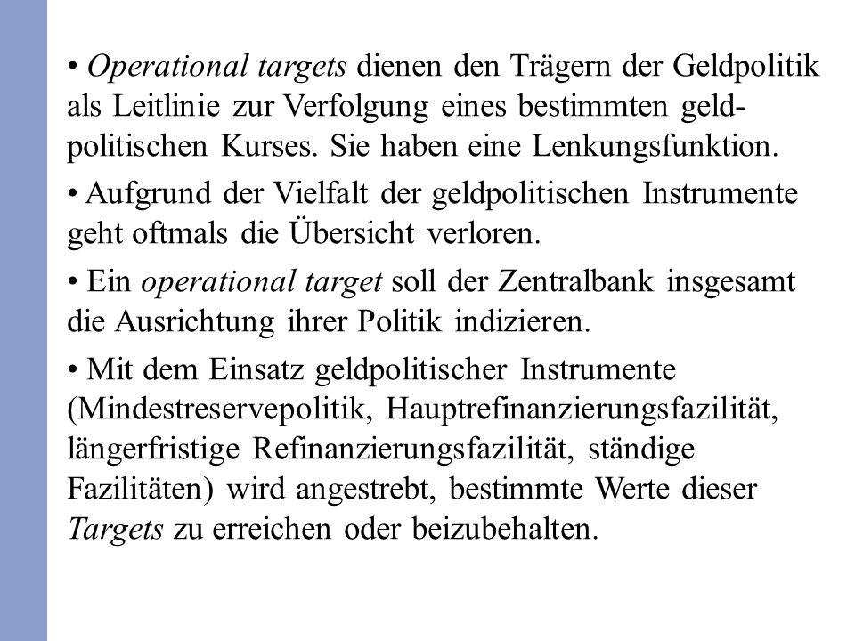 Operational targets dienen den Trägern der Geldpolitik als Leitlinie zur Verfolgung eines bestimmten geld- politischen Kurses.