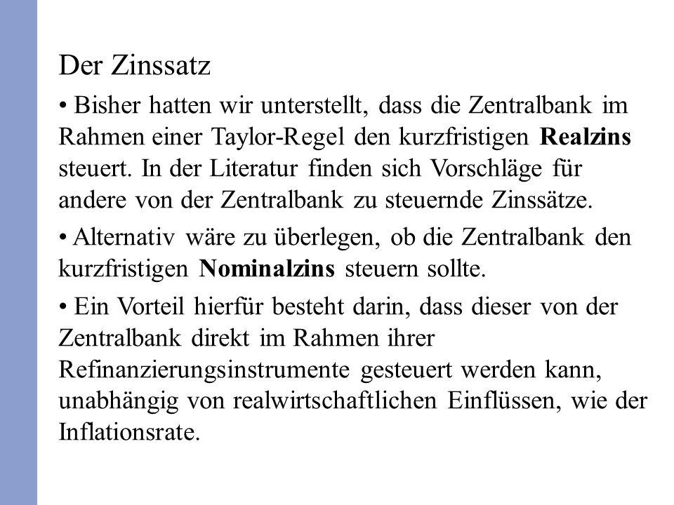 Der Zinssatz Bisher hatten wir unterstellt, dass die Zentralbank im Rahmen einer Taylor-Regel den kurzfristigen Realzins steuert.