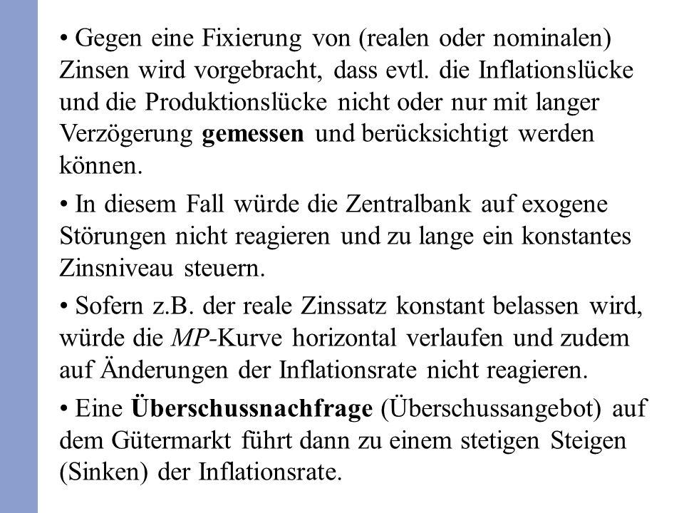 Gegen eine Fixierung von (realen oder nominalen) Zinsen wird vorgebracht, dass evtl.