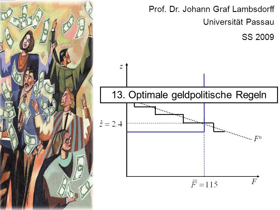 F FnFn z 13. Optimale geldpolitische Regeln Prof. Dr. Johann Graf Lambsdorff Universität Passau SS 2009