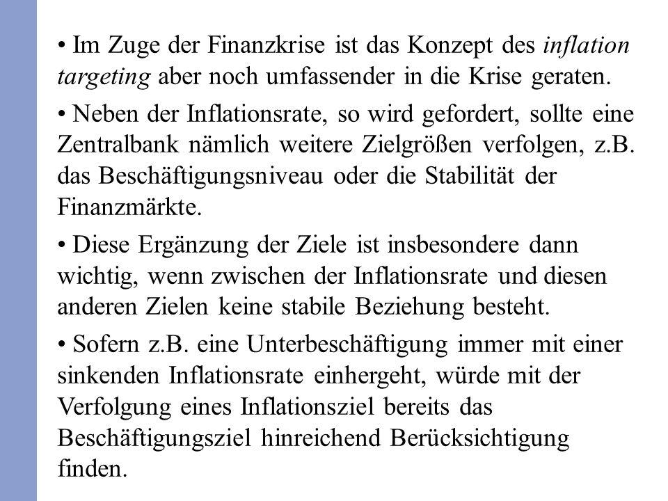 Im Zuge der Finanzkrise ist das Konzept des inflation targeting aber noch umfassender in die Krise geraten.
