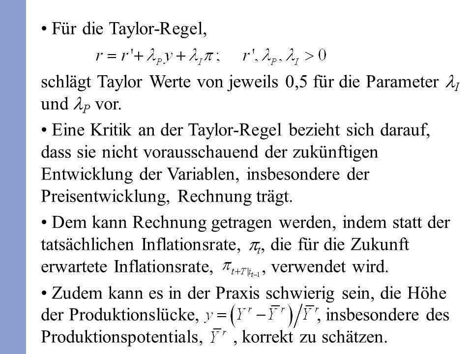 Für die Taylor-Regel, schlägt Taylor Werte von jeweils 0,5 für die Parameter I und P vor. Eine Kritik an der Taylor-Regel bezieht sich darauf, dass si