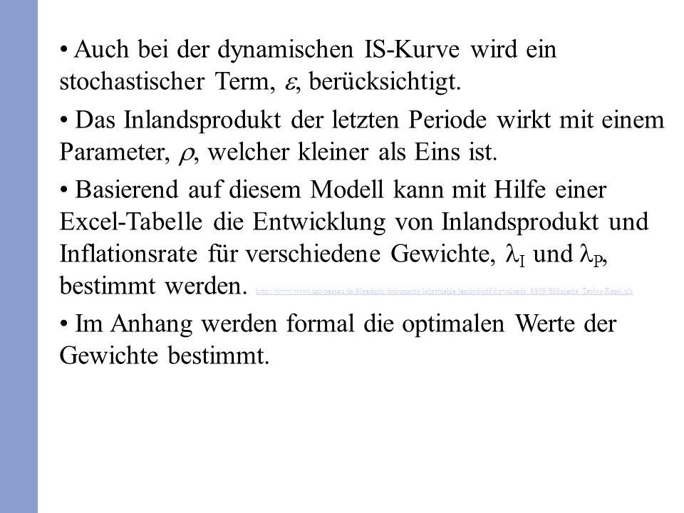 Auch bei der dynamischen IS-Kurve wird ein stochastischer Term,, berücksichtigt. Das Inlandsprodukt der letzten Periode wirkt mit einem Parameter,, we