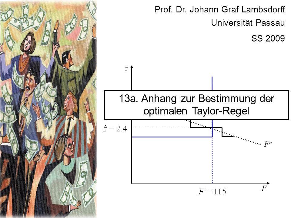 F FnFn z Prof. Dr. Johann Graf Lambsdorff Universität Passau SS 2009 13a. Anhang zur Bestimmung der optimalen Taylor-Regel