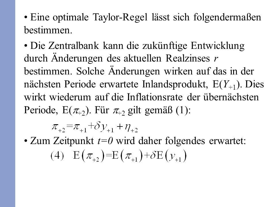 Eine optimale Taylor-Regel lässt sich folgendermaßen bestimmen. Die Zentralbank kann die zukünftige Entwicklung durch Änderungen des aktuellen Realzin