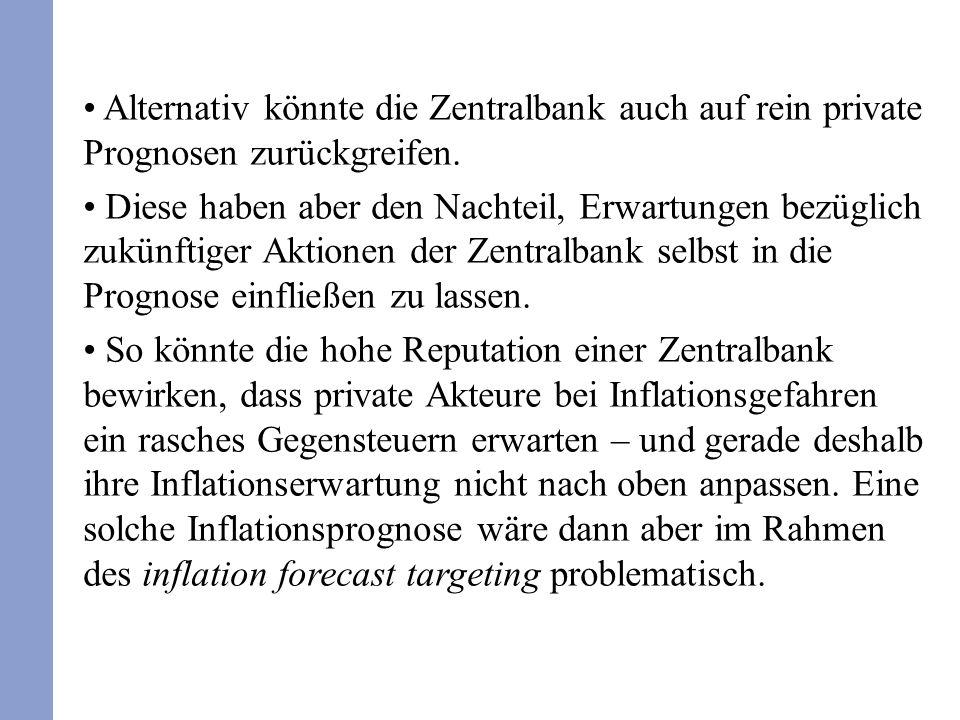 Alternativ könnte die Zentralbank auch auf rein private Prognosen zurückgreifen.