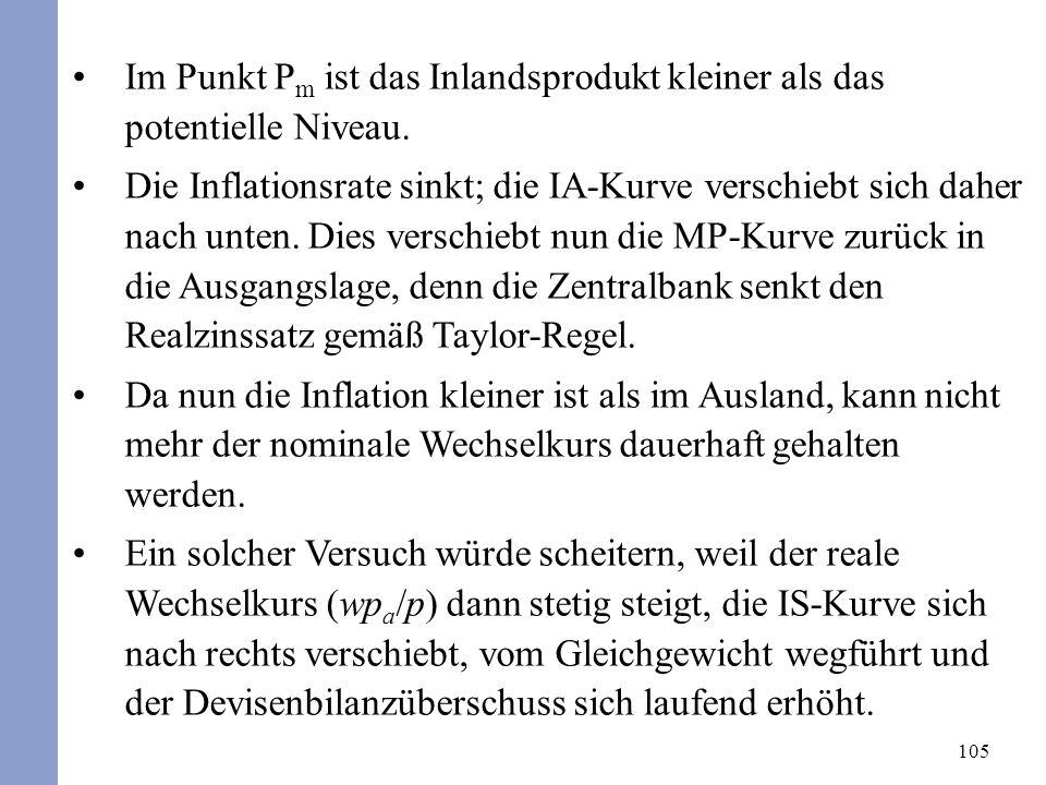 105 Im Punkt P m ist das Inlandsprodukt kleiner als das potentielle Niveau. Die Inflationsrate sinkt; die IA-Kurve verschiebt sich daher nach unten. D