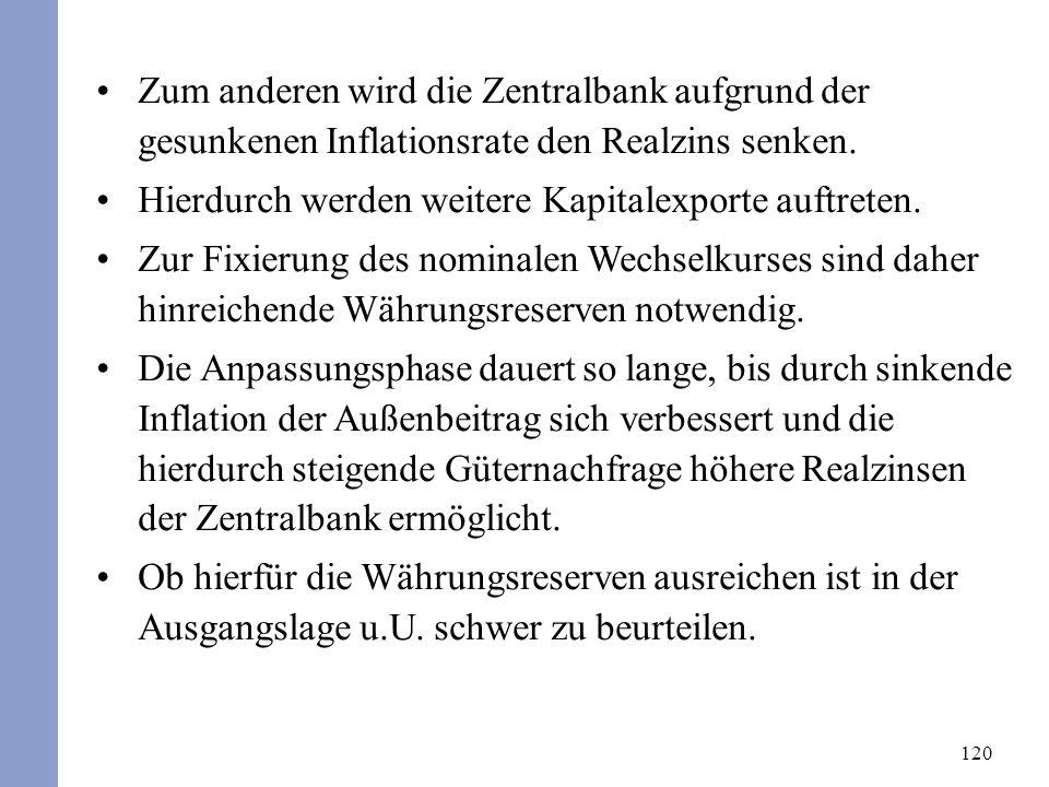 120 Zum anderen wird die Zentralbank aufgrund der gesunkenen Inflationsrate den Realzins senken. Hierdurch werden weitere Kapitalexporte auftreten. Zu
