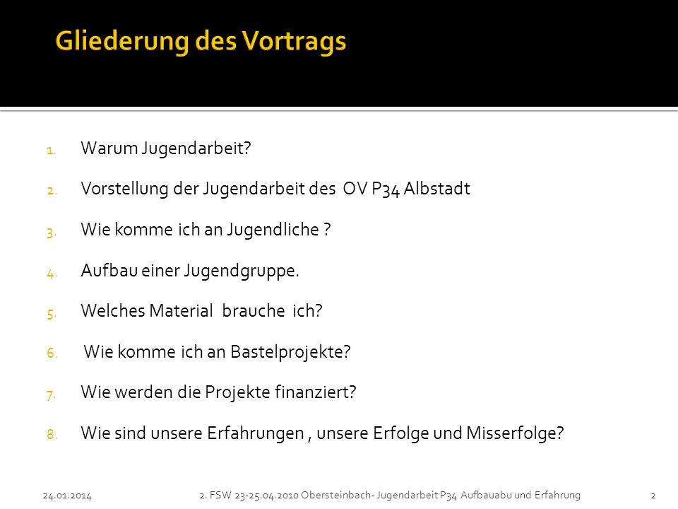 1. Warum Jugendarbeit. 2. Vorstellung der Jugendarbeit des OV P34 Albstadt 3.