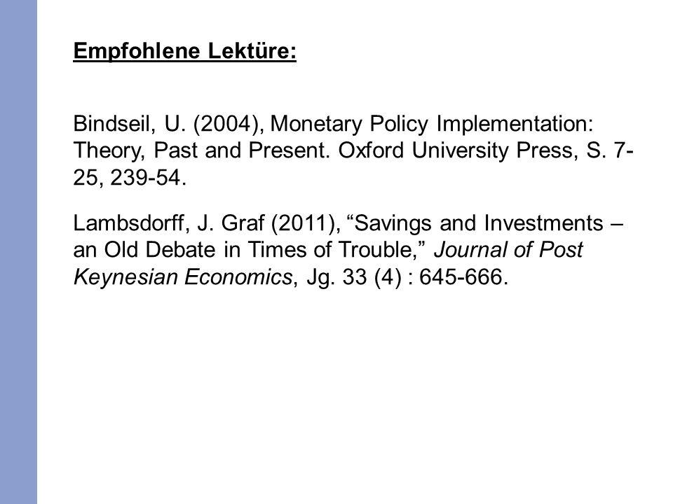 Empfohlene Lektüre: Bindseil, U. (2004), Monetary Policy Implementation: Theory, Past and Present. Oxford University Press, S. 7- 25, 239-54. Lambsdor