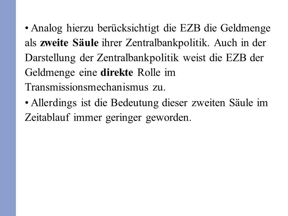 Analog hierzu berücksichtigt die EZB die Geldmenge als zweite Säule ihrer Zentralbankpolitik. Auch in der Darstellung der Zentralbankpolitik weist die