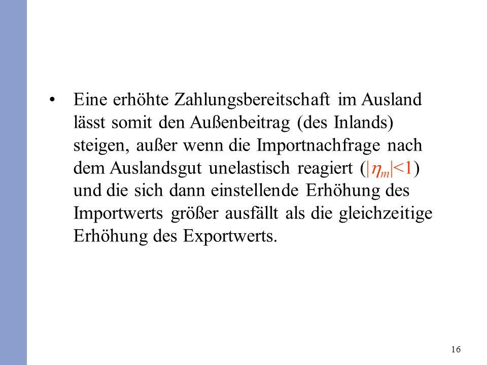 17 Insgesamt folgt aus diesen Überlegungen ein Einfluss des (nachgefragten) Inlandsprodukts auf den Außenbeitrag.