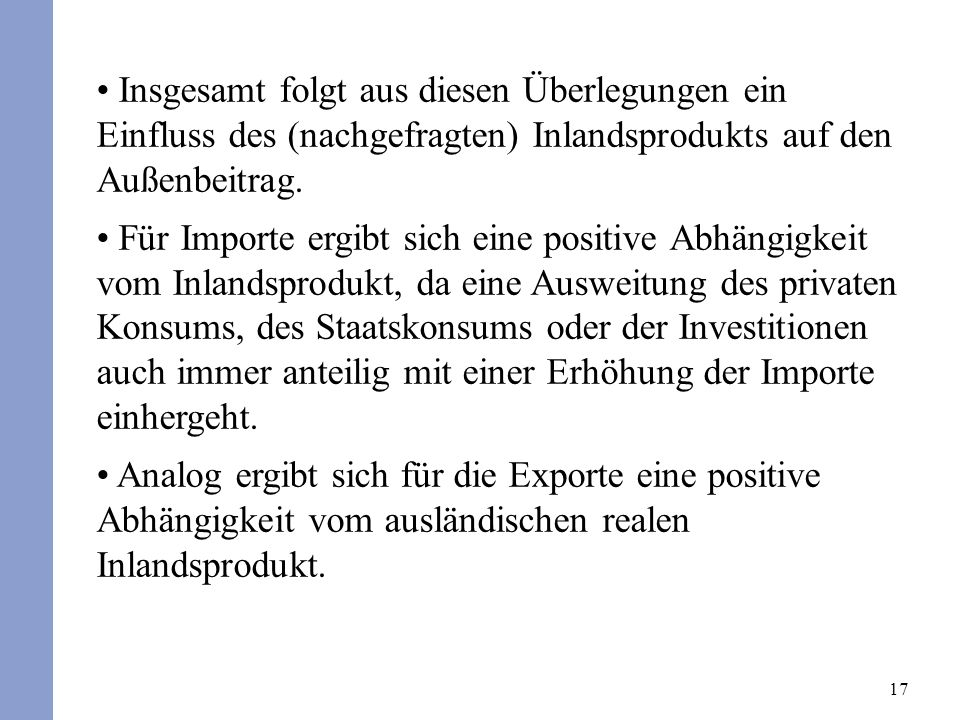 17 Insgesamt folgt aus diesen Überlegungen ein Einfluss des (nachgefragten) Inlandsprodukts auf den Außenbeitrag. Für Importe ergibt sich eine positiv