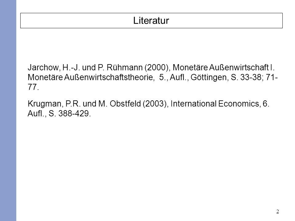 2 Literatur Jarchow, H.-J. und P. Rühmann (2000), Monetäre Außenwirtschaft I. Monetäre Außenwirtschaftstheorie, 5., Aufl., Göttingen, S. 33-38; 71- 77