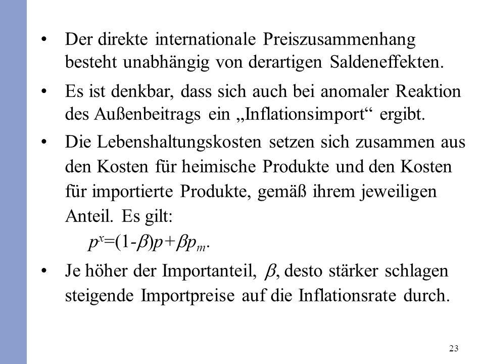 23 Der direkte internationale Preiszusammenhang besteht unabhängig von derartigen Saldeneffekten. Es ist denkbar, dass sich auch bei anomaler Reaktion