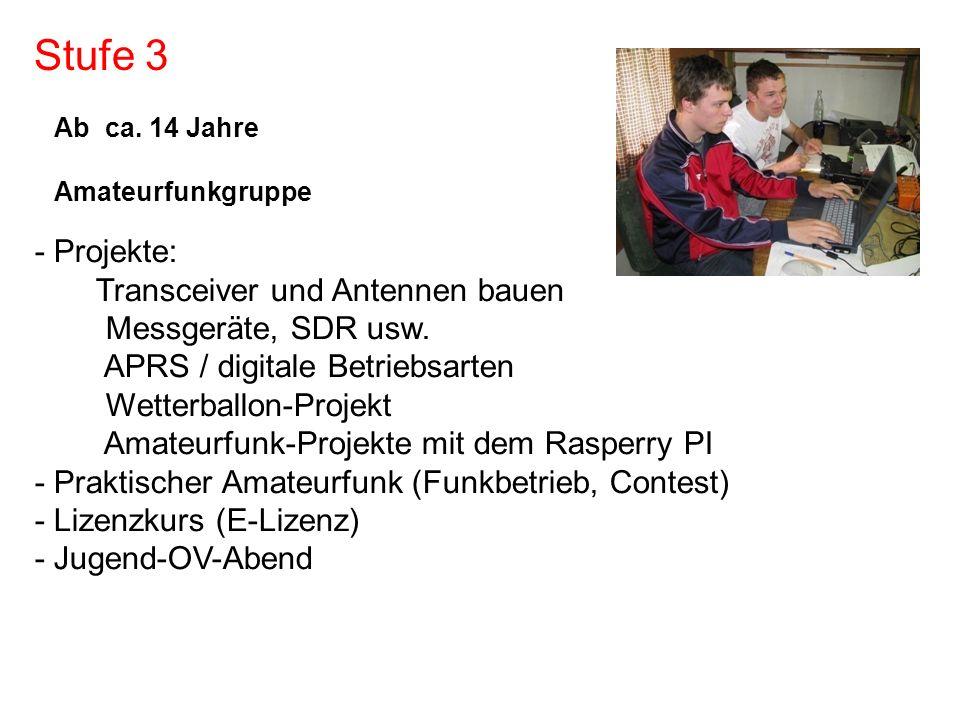 Stufe 3 - Projekte: Transceiver und Antennen bauen Messgeräte, SDR usw. APRS / digitale Betriebsarten Wetterballon-Projekt Amateurfunk-Projekte mit de
