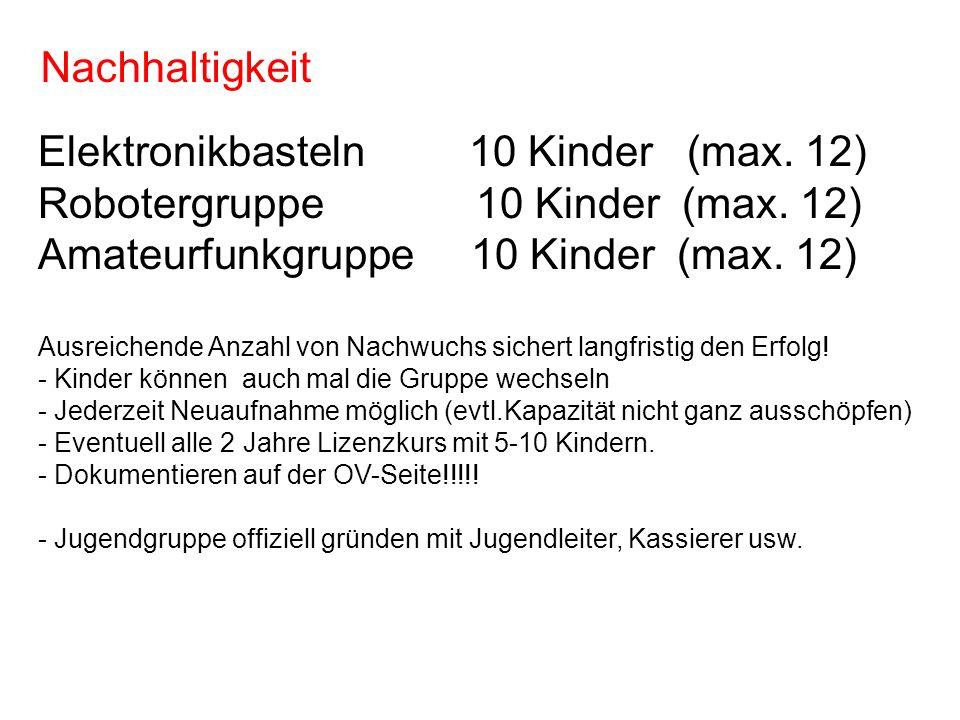 Elektronikbasteln 10 Kinder (max. 12) Robotergruppe 10 Kinder (max. 12) Amateurfunkgruppe 10 Kinder (max. 12) Ausreichende Anzahl von Nachwuchs sicher