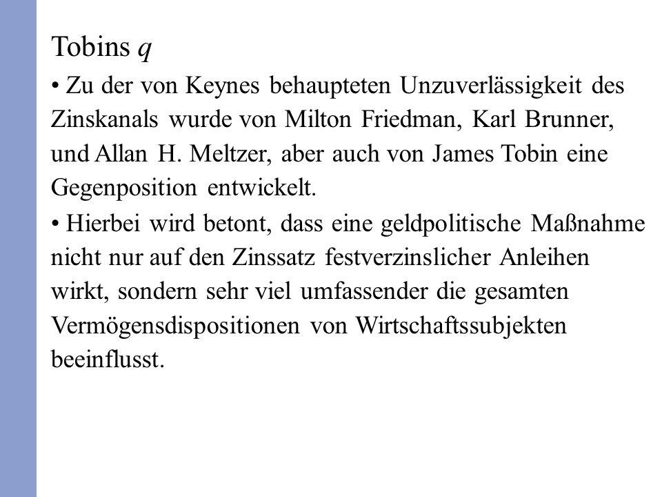 Tobins q Zu der von Keynes behaupteten Unzuverlässigkeit des Zinskanals wurde von Milton Friedman, Karl Brunner, und Allan H.
