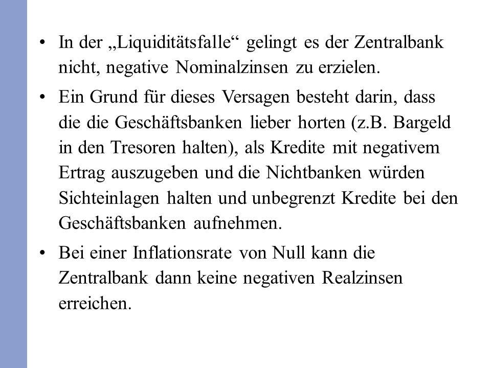 In der Liquiditätsfalle gelingt es der Zentralbank nicht, negative Nominalzinsen zu erzielen. Ein Grund für dieses Versagen besteht darin, dass die di