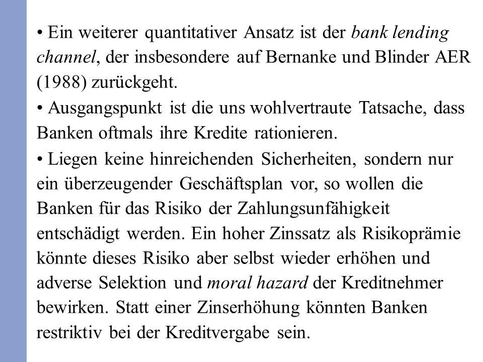 Ein weiterer quantitativer Ansatz ist der bank lending channel, der insbesondere auf Bernanke und Blinder AER (1988) zurückgeht. Ausgangspunkt ist die
