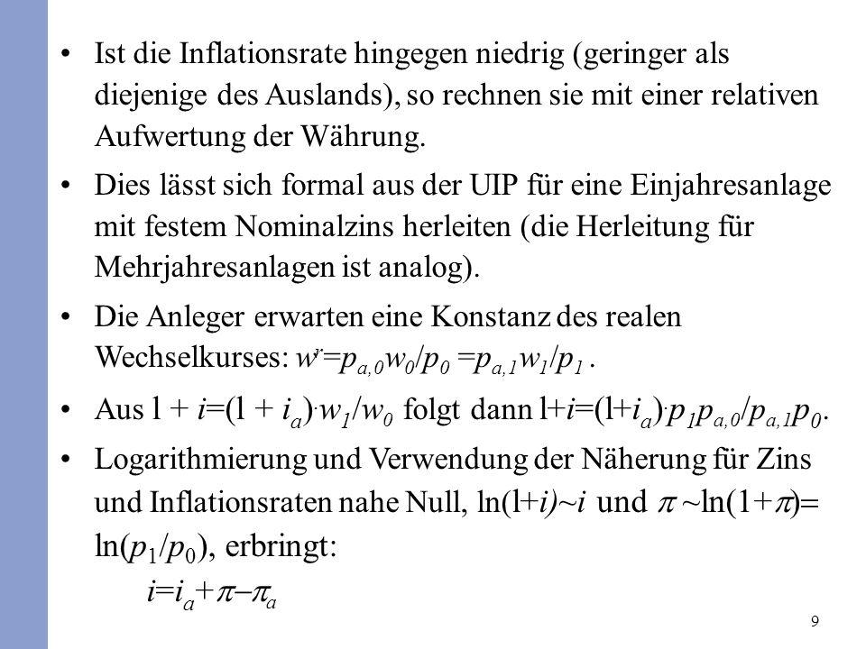 9 Ist die Inflationsrate hingegen niedrig (geringer als diejenige des Auslands), so rechnen sie mit einer relativen Aufwertung der Währung. Dies lässt