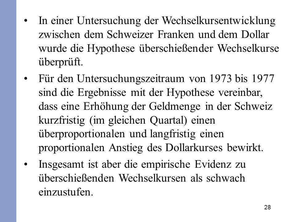 28 In einer Untersuchung der Wechselkursentwicklung zwischen dem Schweizer Franken und dem Dollar wurde die Hypothese überschießender Wechselkurse übe