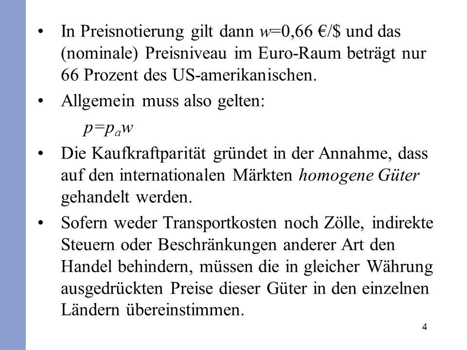 4 In Preisnotierung gilt dann w=0,66 /$ und das (nominale) Preisniveau im Euro-Raum beträgt nur 66 Prozent des US-amerikanischen. Allgemein muss also