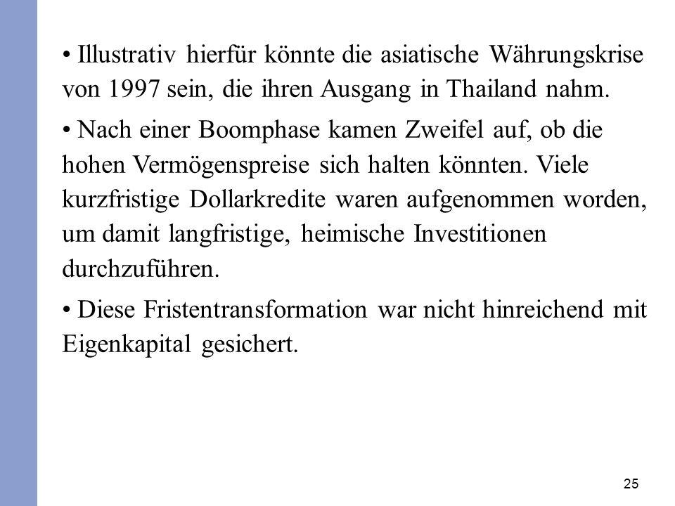 25 Illustrativ hierfür könnte die asiatische Währungskrise von 1997 sein, die ihren Ausgang in Thailand nahm.