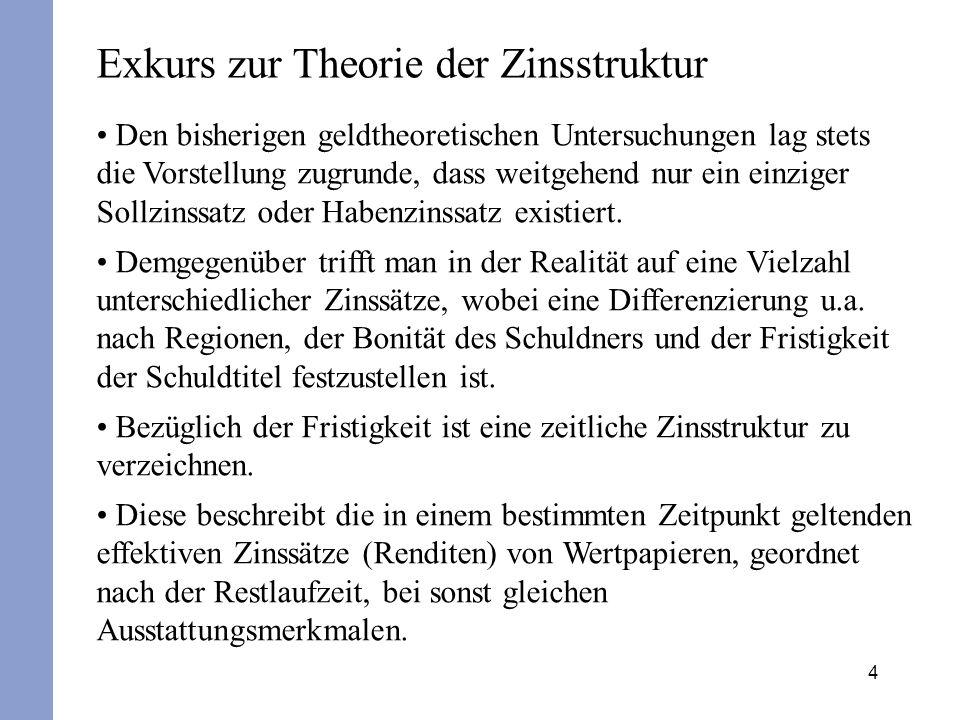 4 Exkurs zur Theorie der Zinsstruktur Den bisherigen geldtheoretischen Untersuchungen lag stets die Vorstellung zugrunde, dass weitgehend nur ein einz