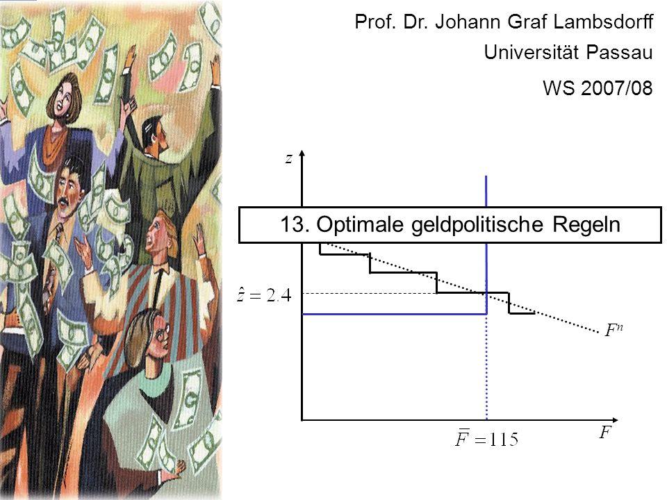 F FnFn z 13. Optimale geldpolitische Regeln Prof. Dr. Johann Graf Lambsdorff Universität Passau WS 2007/08