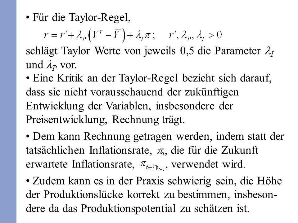 Eine Kritik an der Taylor-Regel bezieht sich darauf, dass sie nicht vorausschauend der zukünftigen Entwicklung der Variablen, insbesondere der Preisentwicklung, Rechnung trägt.