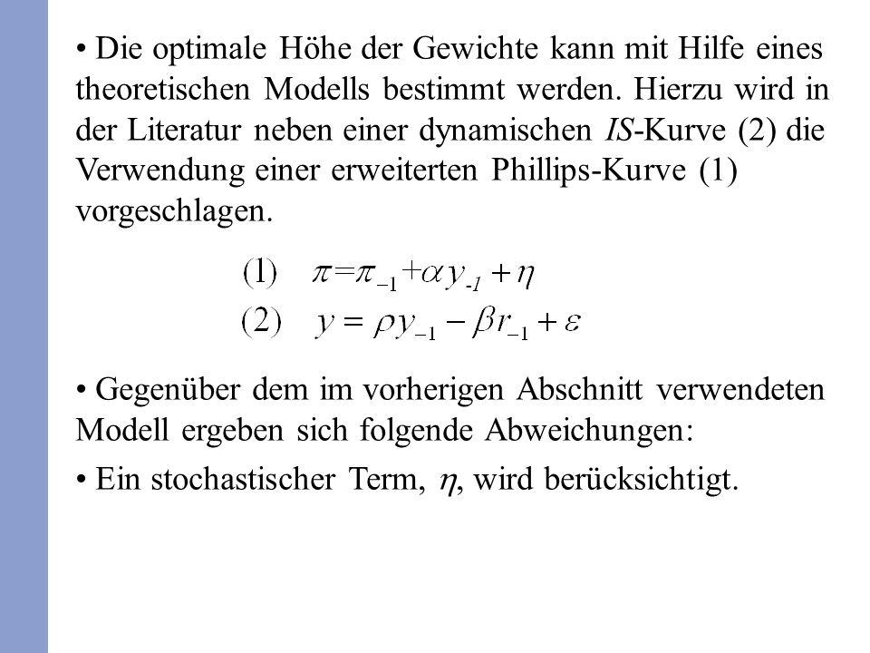 Die optimale Höhe der Gewichte kann mit Hilfe eines theoretischen Modells bestimmt werden. Hierzu wird in der Literatur neben einer dynamischen IS-Kur