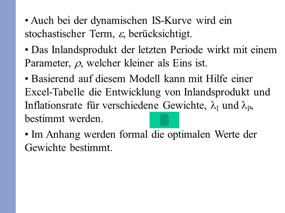 Auch bei der dynamischen IS-Kurve wird ein stochastischer Term,, berücksichtigt.