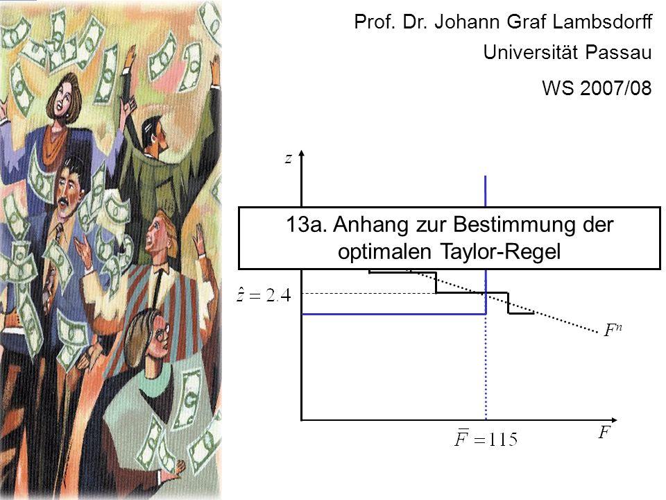 F FnFn z Prof. Dr. Johann Graf Lambsdorff Universität Passau WS 2007/08 13a. Anhang zur Bestimmung der optimalen Taylor-Regel