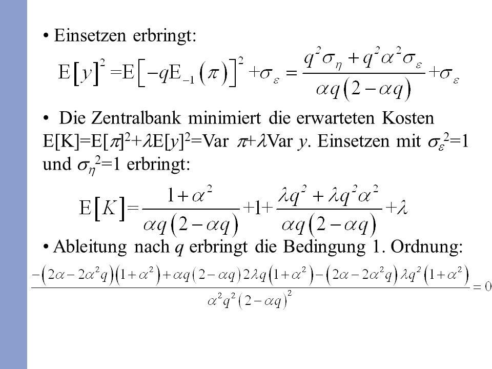 Einsetzen erbringt: Die Zentralbank minimiert die erwarteten Kosten E[K]=E[ 2 + E[y] 2 =Var + Var y. Einsetzen mit 2 =1 und 2 =1 erbringt: Ableitung n