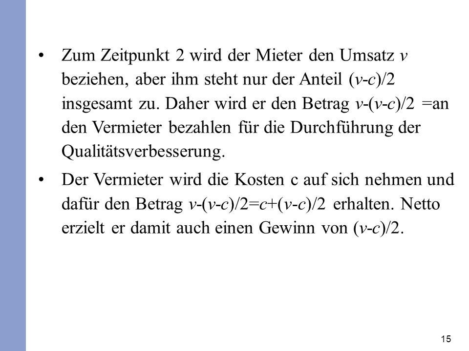 15 Zum Zeitpunkt 2 wird der Mieter den Umsatz v beziehen, aber ihm steht nur der Anteil (v-c)/2 insgesamt zu.
