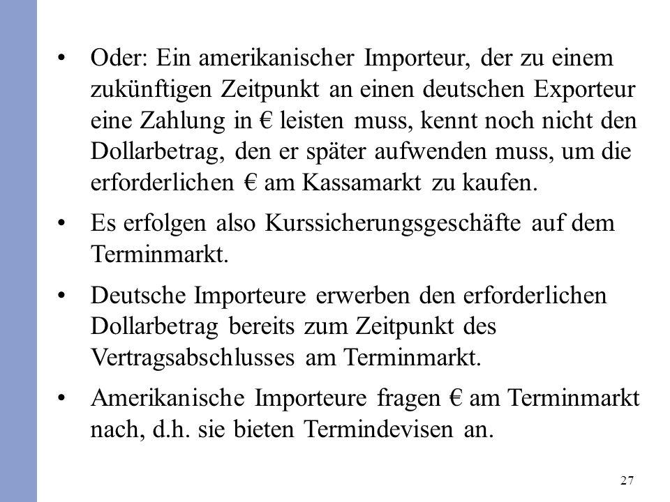 27 Oder: Ein amerikanischer Importeur, der zu einem zukünftigen Zeitpunkt an einen deutschen Exporteur eine Zahlung in leisten muss, kennt noch nicht den Dollarbetrag, den er später aufwenden muss, um die erforderlichen am Kassamarkt zu kaufen.