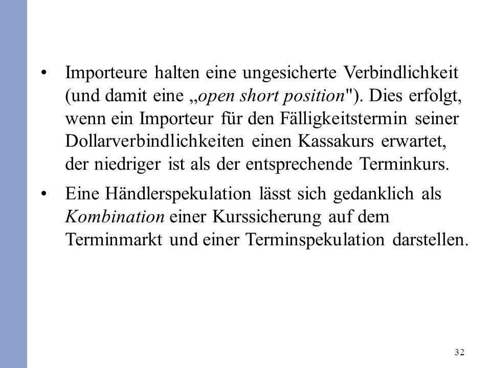 32 Importeure halten eine ungesicherte Verbindlichkeit (und damit eine open short position ).