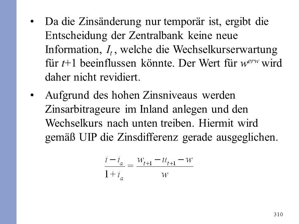 310 Da die Zinsänderung nur temporär ist, ergibt die Entscheidung der Zentralbank keine neue Information, I t, welche die Wechselkurserwartung für t+1