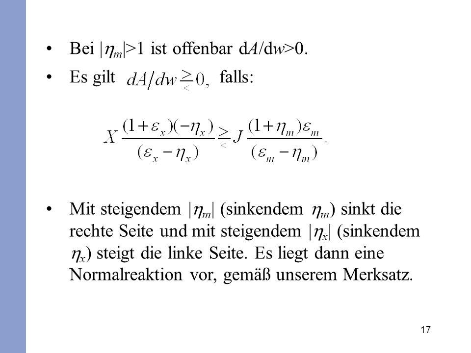 17 Bei | m |>1 ist offenbar dA/dw>0. Es gilt falls: Mit steigendem | m | (sinkendem m ) sinkt die rechte Seite und mit steigendem | x | (sinkendem x )