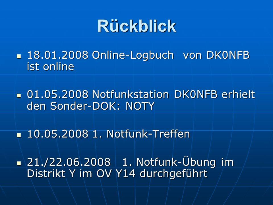 Rückblick 18.01.2008 Online-Logbuch von DK0NFB ist online 18.01.2008 Online-Logbuch von DK0NFB ist online 01.05.2008 Notfunkstation DK0NFB erhielt den