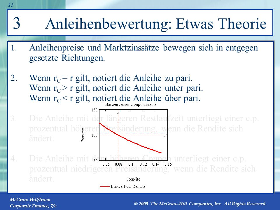 McGraw-Hill/Irwin Corporate Finance, 7/e © 2005 The McGraw-Hill Companies, Inc. All Rights Reserved. 10 3 Anleihenbewertung: Etwas Theorie 1. Anleihen