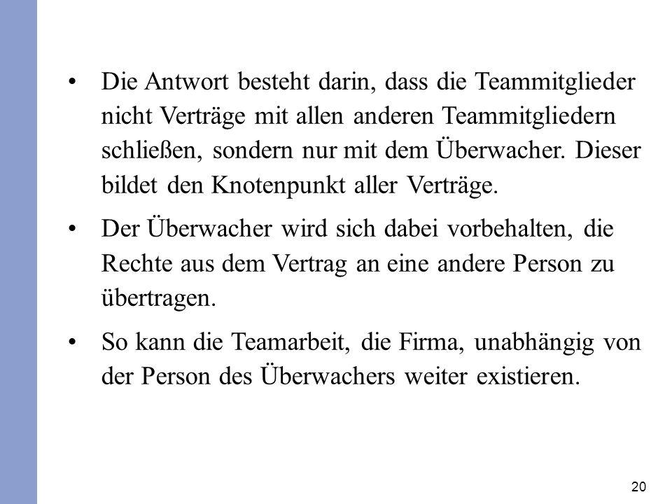 20 Die Antwort besteht darin, dass die Teammitglieder nicht Verträge mit allen anderen Teammitgliedern schließen, sondern nur mit dem Überwacher.