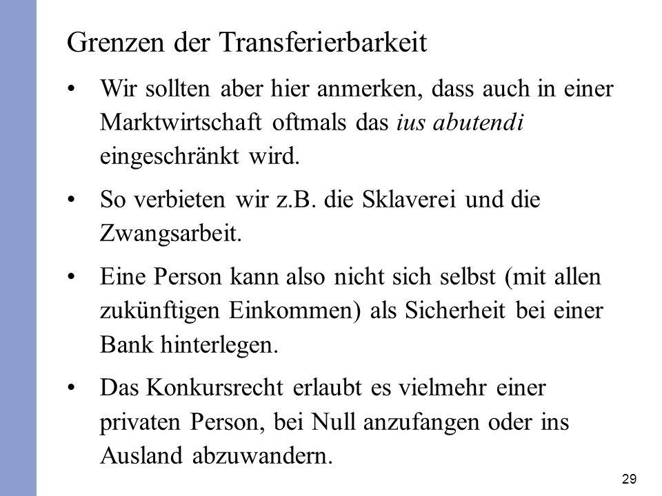 29 Grenzen der Transferierbarkeit Wir sollten aber hier anmerken, dass auch in einer Marktwirtschaft oftmals das ius abutendi eingeschränkt wird. So v