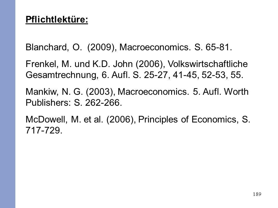189 Pflichtlektüre: Blanchard, O. (2009), Macroeconomics. S. 65-81. Frenkel, M. und K.D. John (2006), Volkswirtschaftliche Gesamtrechnung, 6. Aufl. S.
